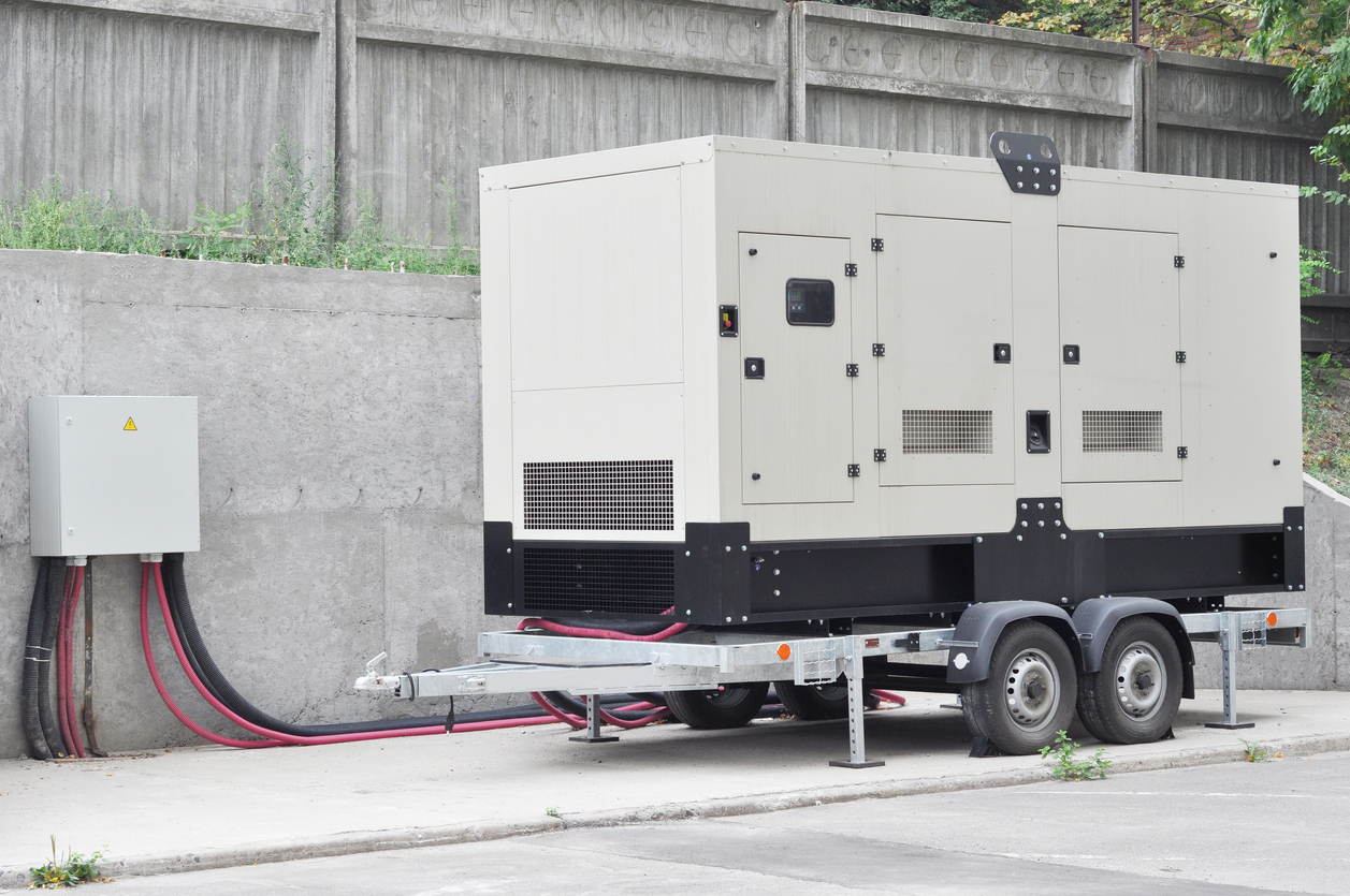 large diesel generator on a trailer