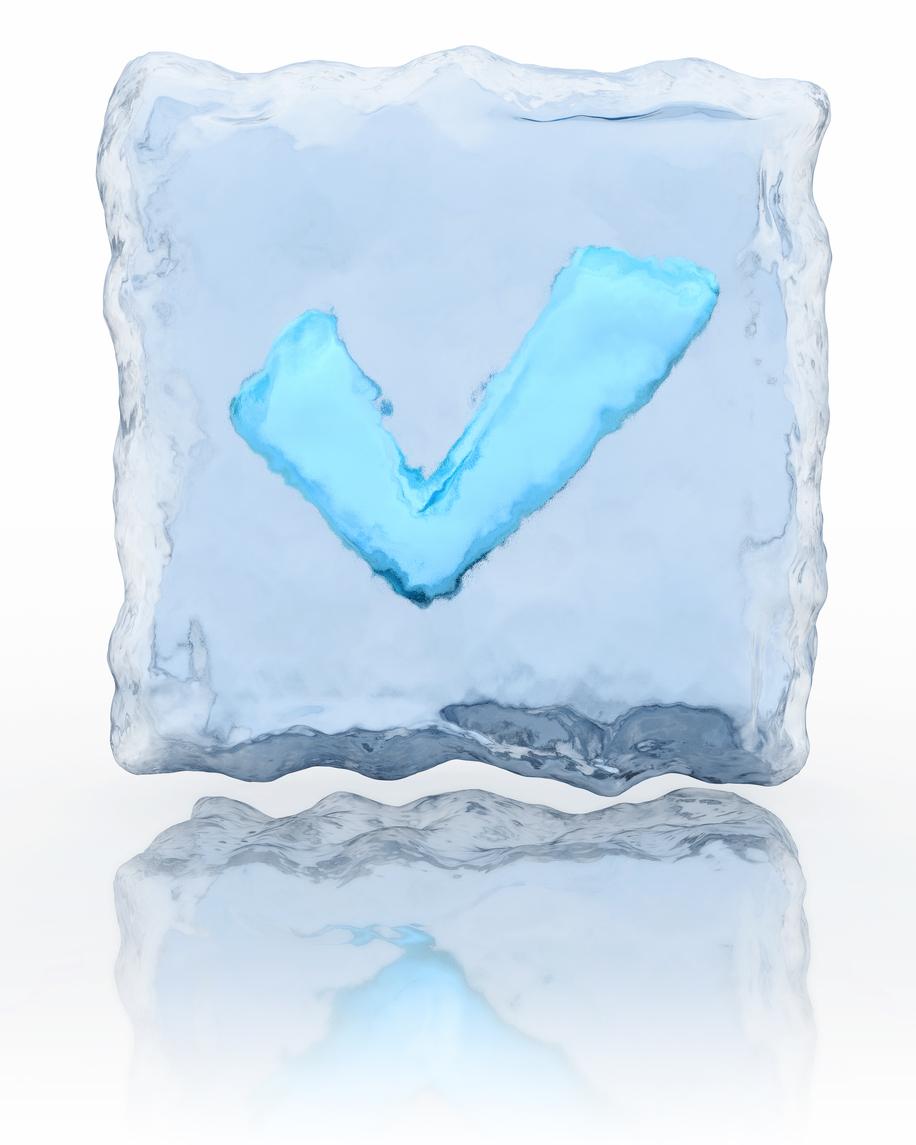 blue checkmark frozen inside an ice block
